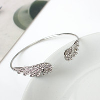 Wholesale Wings Bangles - Fashion accessories set auger wings of the angel bangle bracelet Personality alloy crystal bangle bracelets wholesale free shipping