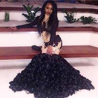 Wholesale Cheap Modern Flower Girl Dresses - 2018 sexy cheap black prom dresses evening dress long sleeve black girl prom dress