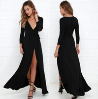 Wholesale Long Night Gown Xl Cotton - 2016 Sexy New Emerald Black Long Sleeves Ankle Mermaid Evening Dresses Illusion Mesh Top Sweep Long Prom Evening Gowns Cheap Real Image