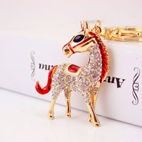Wholesale Wholesale Keychains Cheap - Cute Animal Pendant Fashion Keychains For Girls Rhinestone Horse Keyrings Tops Metal Key Chains For Car Key Cheap Wholesale