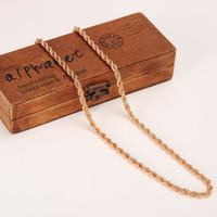 rosenketten großhandel-18k Rose füllte festes Goldseil 5mm dickes dünnes Kabel-feine Ketten-Halskette 600mm oder 500mm Wählen Sie