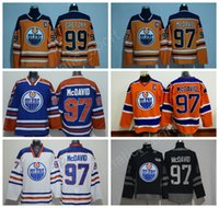 Wholesale Hot Nylon Flashing - 2017-2018New 97Connor Mcdavid Jersey Men Edmonton Oilers Ice Hockey 99Wayne Gretzky Jersey All Stitched Orange Blue White Hot Selling