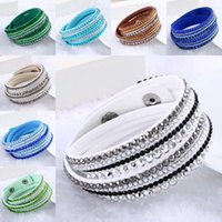 Wholesale leather wrap bracelets for women - maxi statement Rhinestone Crystal Multilayer Bracelets bangles Flannel Leather Wrap Bracelet Wristbands for Women Snap Jewelry Gift 162034