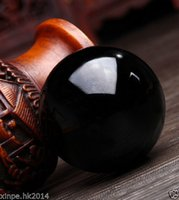 40mm + stand Hot Sell Black Natural Obsidian Crystal Sphere Healing HOT