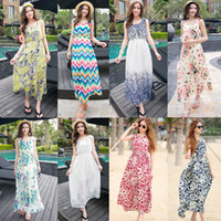Wholesale Celebrity Style Dresses Wholesale - Celebrity Style Women Bohemian Indian Floral Print Sleeveless The Newest Spring Summer Long Chiffon Long Dress