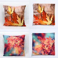 decoração da folha de bordo venda por atacado-Mais novo Queda Fronha 3D Maple Leaf Almofada 45 * 45 CM Sofá Casa Decor Capa de Almofada Decorativa Travesseiro Cobre WX9-33