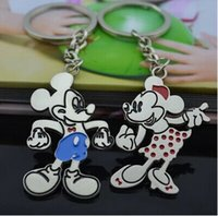 Wholesale Baby Shower Gifts Cheap - Wholesale- cheap 2pcs (1pairs) Silver Plated key chains Mickey and Minnie Key ring baby shower wedding gift keychain favor fashion jewelry