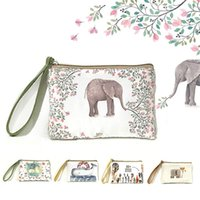 Wholesale Multi Tool Business Card - New Cartoon Women's Purse Canvas Coin Bag Lady Printing Day Clutches Key Change Cell Phone Pouch Vintage Cosmetic Makeup Tool Bags