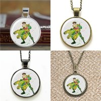 Wholesale American Poster - 10pcs Robin Poster Comics Bat man Art Glass Photo Cabochon Necklace keyring bookmark cufflink earring bracelet