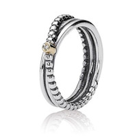 Wholesale Engagement Ring 14k - Authentic 925 Sterling Silver Ring Love Twin Band With Gold Detail Rings For Women Compatible With Pandora DIY Jewelry HRAPD654