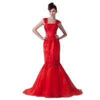 indirimli uzun gece elbiseleri toptan satış-2017 Kırmızı Boncuklu Aplikler İnce Kalça Mermaid Stil Abiye Ücretsiz Kargo İndirim Ziyafet Uzun Elbise