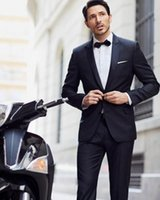 Wholesale Morning Dress For Sale - wedding suits for men Black Leisure prom Hot sale Men's morning dress lapel groom suits two-piece (jacket+pants)fashion style