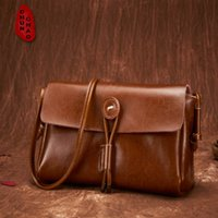 Wholesale Satchel Designer Purse Shoulder Leather - Wholesale-Genuine Leather Women Shoulder Bag Messenger Bag Real Leather Flap Bag Brand Designer Purse Female Satchel Bolsas femininas