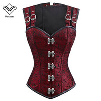 Wholesale Gothic Steel Boned Corsets - Corset Steampunk Corsets and Bustiers Slimming Gothic Corsage Corselet Corsets Sexy Black Strap Corset Steel Boning Bustier