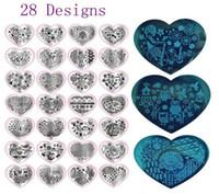 novos projetos de unha polonês venda por atacado-Nova Moda 28 Designs Prego Imprimir Placas De Selo Nail Art Template Para Unhas DIY Polonês Beleza