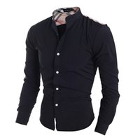 design de roupa livre venda por atacado-Atacado-xadrez clássico patchwork design dos homens camisas casuais estilo americano moda meninos slim fit roupas de manga completa navio livre