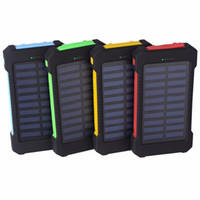 Wholesale Tablet External Battery Pack - 20000mAh Solar Power Bank External Battery Pack with Dual USB Port LED Flashlight Portable Charger for iPhone Samsung Cellphones iPad Tablet