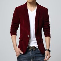 Wholesale Mens slim fit blazer velvet male suit jacket spring and autumn red black blue notch lapel casual coat Blaser drop shipping