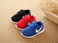 bebek mavisi spor ayakkabıları toptan satış-2019 İlkbahar Sonbahar Çocuk Ayakkabı Nefes Rahat Çocuk Sneakers Erkek Kız Toddler Ayakkabı Mavi + Kırmızı + Siyah Bebek Size21-25