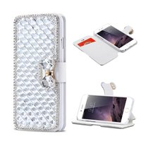 Luxo Rhinestone PU Leather Diamond Wallet Case Suportes de cartão de crédito Flip Cover para iphone X 8 7 6 6S Plus Samsung Nota 8 caso OPP BAG