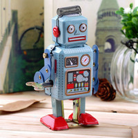 Wholesale Wind Up Toys Robot - Vintage Mechanical Clockwork Wind Up Metal Walking Robot Tin Toy Kids Gift Worldwide Hot Selling