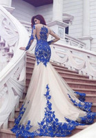 Wholesale Sexy Glamorous Prom Dresses - Royal Blue Long Sleeves Mermaid Glamorous Appliques Tulle Evening Dresses 2017 Sexy Party Prom Gown Formal Dress