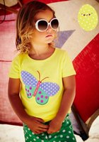 Wholesale Shirts Butterfly Sleeves - 2017 New Summer Baby Girl T-shirts Butterfly Yellow Cotton Short Sleeve Summer T-shirts Children Clothing 60511