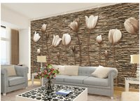 ingrosso grandi pareti di fiori di carta-Grandi Murales 3D Foto Wallpaper Flower for Living Room TV Sfondo Wall Paper Floral papel para pared Cliente