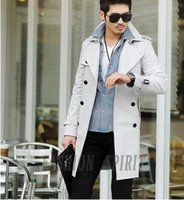 Wholesale Cheap Trench Coats For Men - Grey trench coat for men business formal long coat men medium-long trench men slim cheap