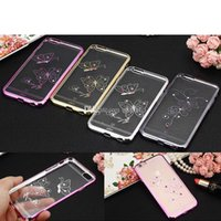 Wholesale Silicone Butterfly Iphone Cases - For Iphone 6s Case TPU Backcover Ultra-Thin Case Butterfly Diamond Electroplating Technology Soft Gel Silicone Case Opp Package