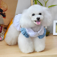 Wholesale Dog Jeans Skirt - Cute Pet Dog Puppy Dress Lace Bow Jeans Tutu Princess Skirt Appare WX