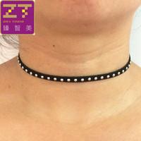 Wholesale Gold Chain Necklace Black Ribbon - Wholesale- Hot Torques Bijoux Plain Black Velvet Ribbon Silver Color light Gold Color Maxi Statement Chokers Necklace Women 2016 Jewelry