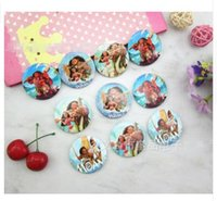 Wholesale Troll Wholesale - Cartoon Moana Trolls Round Brooch Button Pin 4.5 cm DIY Kids Gift 30pcs LotDHL Free Shipping