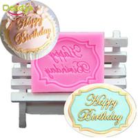 alles gute zum geburtstag großhandel-Delidge 1 stück Happy Birthday Brief Kuchenform Silikon Fondant Seife Zuckerfertigkeit Mold Dekorieren Karte Form Fondant Kuchenform