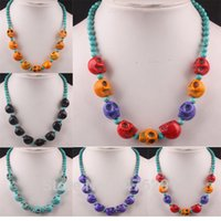 """Wholesale Mixed Skull Howlite Beads - Chic Mix-Color Howlite Stone Gem Skull Bead Necklace 18""""L"""