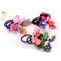 Wholesale rabbit ear hair tie - New Elastic hair ties hair bands Bunny Rabbit Ears style Bows HairBands Stripes Dots girls ponytail holder pony girl rubber hair accessories