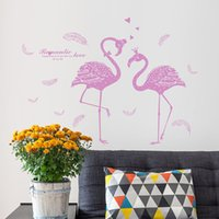 Wholesale purple wall stickers - Movable Wall Stickers Decorative Gifts Living Room Background Beautify Art Decor DIY Purple Sweethearts Flamingo Walls Decal 3gf C R