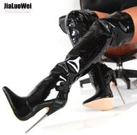 Wholesale Trend Women Winter Boots - Free Shiping Women Trend Winter Boots High Heels Patent Leather Boot Female Plain Stretch Sexy Crotch Thigh High Boot pointed toe Plus Size