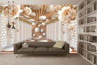 flor de arte mural al por mayor-Columna romana arte flor flor pared fondo murales de pared mural 3d papel tapiz 3d papeles de pared para telón de fondo de televisión