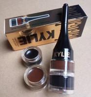 Wholesale Color Eyeliner Gel - FREE SHIPPING HOT good quality Lowest Best-Selling good sale New MAKEUP Black & brown Eyeliner Waterproof Gel 2 IN 1+gift