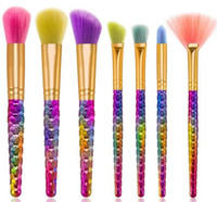 7 pcs/set brush spiral brush set - 7 set Rainbow Thread Spiral Makeup Brushes Set Foundation Power Blush Blusher Eyeshadow Mermaid Make Up Brush Beatuy Cosmetic tool kits