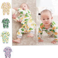 Wholesale Newborn Clothes Onesies - Newborn Clothes INS Baby Rompers pineapple duck Printed Onesies Boys Long Sleeve Pants Button Jumpsuits Flamingos Pear Bodysuit KKA2079