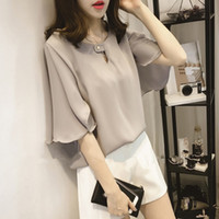 spring leaf blouses - 2017 Spring New Korean Fashion Loose Sweet Crew Neck Lotus Leaf Sleeve Chiffon Blouse chiffon three colors
