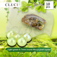 Wholesale Oyster Lights - Light Green Color 10pcs 6-7mm Akoya Round Cultured Pearl in Oyster New Arrival