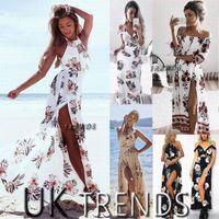 frauen sommer maxi kleider großhandel-Dress Womens Holiday Sleeveless Damen Maxi Long Sommer Print Beach Dress Size 6-14 Bademode für Frauen