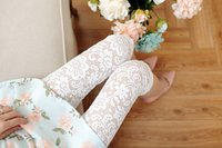 Wholesale Lacy Elastic - Breathable leggings fashion lace hollowed-out flowers pencil pants High waist sexy Carry buttock lacy slacks 9 minute trousers