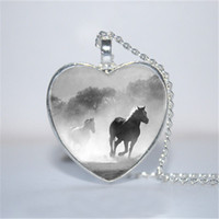 Wholesale heart cabochon glass - 10pcs lot Horse in Fog Heart Pendant, Horse Jewelry, Horse Heart Pendant Heart Necklace Glass Photo Cabochon Necklace