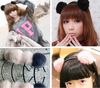 Wholesale Kids Fur Headbands - Adorable Fur Ball Pompom Ball Hair Hoops Headbands For Girls Kids Princess