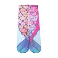Wholesale Hot Girls Stockings - New 2016 Mermaid Stockings 3D Printing Girls Women Mermaid Socks European American Hot beach Socks Free DHL Shipping in stock