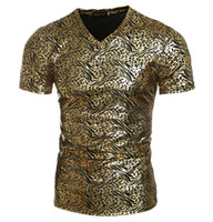 Wholesale T Shirts For Skinny Men - New skinny tshirts youth tshirt mens Leopard Gold printing short Sleeve t shirt for men tshirts cotton clothing casual t shirts